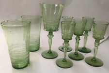 STEUBEN FREDERICK CARTER GREEN BUBBLE ART GLASS HAND MADE 8 PIECES