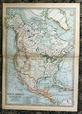 Antique Map Of North America Mexico Canada Florida USA 1903