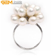 5-6mm Cluster Pearl Beads Adjustable Ring #7-#9 Send By Random Christmas GIft