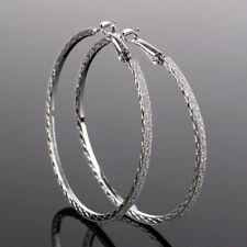 Fashion Womens Large Round Crystal Diamante Rhinestone Hoop Earrings Jewelry