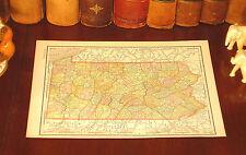 Original 1895 Antique Map PENNSYLVANIA Allentown Bethlehem Bensalem York Erie PA