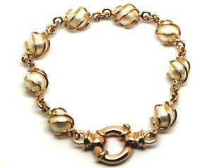 Genuine Handmade 9ct 9k Rose Gold Freshwater White Pearl 19cm Bracelet