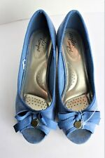 61ec1218d5f2 Womens DexFlex Comfort Blue denim peep toe cork wedge high heel shoes Size  9.5