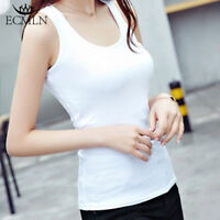 New Women Girl Sleeveless T-Shirt Tank Tops Cami Vest Slim Fit Cotton Sport Yoga