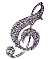 Music note brooch pin bling jewelry gifts for women her mom BD17 gold silver