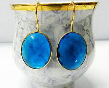 925 Sterling Silver Blue Quartz 17*20mm Oval Gold Plated Bezel Earring