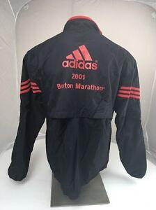 VTG 2001 B.A.A. Adidas Boston Marathon Heavy Duty Running Jacket XL BLACK RED