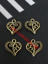 PJ352 20pc Tibetan Gold Heart-shaped Bead Charms Accessories wholesale
