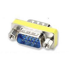 15 Pin Male SVGA VGA Slimline HD15 Monitor Gender Changer Adapter Converter New