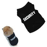 Security Printed Small Dog T shirts Cotton Puppy Summer Vest Black Dog Clothes