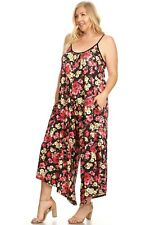 New Women Floral Sleeveless Jumpsuit Romper Wide Leg Sizes S-M-L