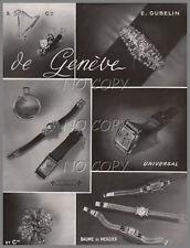 1949/1950 DOCUMENT : PUBLICITé MONTRE BIJOUX VACHERON BAUME MERCIER GUBELIN 1p