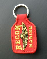 USMC US MARINES MARINE CORPS RECON EMBROIDERED KEY RING 1.75 X 2.75 INCHES