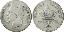NAPOLÉON  III  ,  50  CENTIMES  ARGENT  TÊTE  LAURÉE  1869  BB  STRASBOURG  RARE