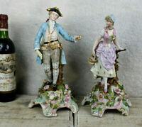 PAIR antique german sitzendorf marked porcelain figurine statue