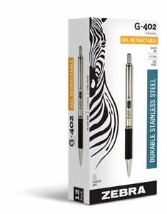 12 Zebra G-402 Stainless Steel Retractable Gel Pen Fine 0.5mm Black 49210 G402