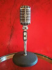 Vintage 1960's Shure Brothers 55 S dynamic microphone Elvis Deco old w stand