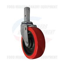 "Heavy Duty Stem Caster 5"" x 1- 1/2"" Red Polyurethane Wheel."