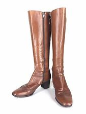 Salvatore Ferragamo Boots Size 7 Made in Italy Brown Side Zip Calf Knee High