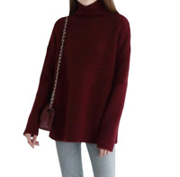 Womens Cashmere High-Necked Warm Sweater Long Sleeve Loose Fit Coat Blouse Tops