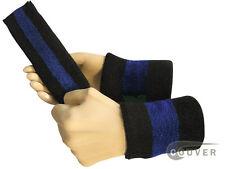 Couver Black Blue Black Striped Headband Wristband Set