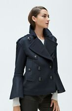 NWT $1295 Burberry Juliette Townhill Double Breasted Peacoat Flare-Sleeve Navy 2