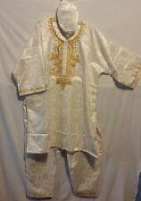 African Clothing PCs Men Pants Suit Dashiki church Wedding Free Size Cream #9309