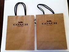 "COACH Brown Paper Small Gift Shopping Bag 9.75"" x 8"" x 4.5"" Lot of 2"