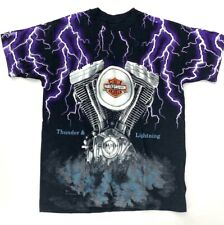 Vintage Harley Davidson Thunder & Lightning All Over Print T-Shirt size Medium