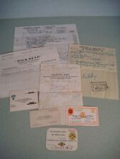 Vintage automobile repair receipts and insurance cards from the 1920s & 1930s