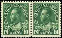 Canada #107i mint VF OG NH 1922 King George V 2c deep green Admiral Pair Wet Pri