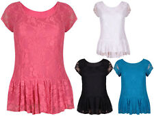 Scoop Neck Floral Lace Tops & Shirts Plus Size for Women