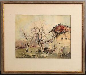 1946 Antique BERNARD PRATX French Impressionist Landscape Watercolor Painting NR