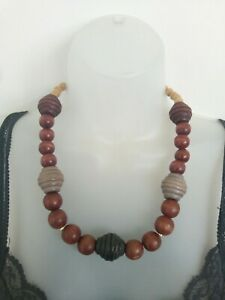 Womens Necklace wooden beads multi tone costume Jewellery natural boho ethnic
