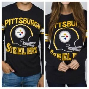 Pittsburgh Steelers NFL Knit Intarsia Sweater w/ Retro 2-bar Football Helmet NWT