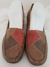 "Pavers Comfort Brown and Red Patchwork Court Shoe size 5 heel approx 1.5"" (SB4)"