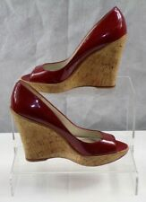 Aldo Women's Red Leather Wedge Heel Open Toes Casual Shoes UK Size 6.5 EUR 37