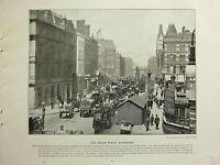 1896 Viktorianisch London Aufdruck + Text ~ Neu Brücke Strasse Blackfriars