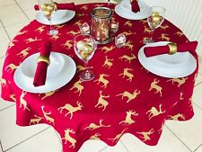140CM DIAMETER ROUND CHRISTMAS TABLECLOTH WINE & GOLD STAGS