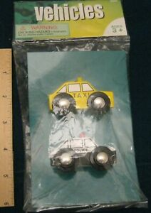 VEHICLES FROM MAXIM ENTERPRISE, INC. WOODEN YELLOW TAXI & POLICE CAR NEW IN PKG