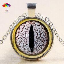 Vintage Cabochon Tibetan Silver Glass lizard eye Chain Pendant Necklace zqd105