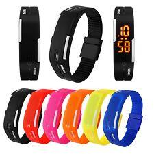 SKMEI LED Digital Waterproof Rubber Magnet Buckle Bracelet Wrist Watch Unisex US