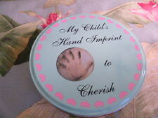 MY CHILD'S HAND IMPRINT TO CHERISH KIT & BLUE & PINK HEART COLLECTIBLE TIN