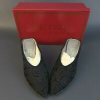 PETRA FIRENZE  Black Bengala Mule Sandals Size 6.5 M Made in Italy w/ Box