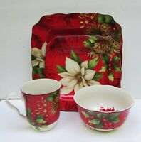 222 Fifth Poinsettia Holly Christmas 4 Piece Place Setting