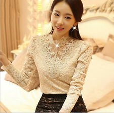Fashion Women Long Sleeve Shirt Casual Lace Blouse Loose  Top T Shirt [Apricot]