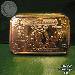 """$2 Washington Banknote"" 1 oz .999 Copper Bar"