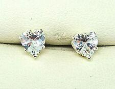DIAMOND SILVER STUD EARRINGS 5mm  HEART CUT STERLING SILVER LAB-CREATED  sk1012