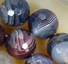 """14mm Faceted Natural Persian Gulf Agate Round Beads 15"""""""