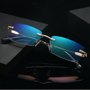 Luxury Rimless Cutting edge Reading Glasses Anti Blue Light Tinted Magnifier